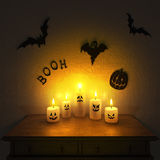 Halloween decoration. Handmade funny candle ghosts. Royalty Free Stock Photo