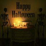Halloween decoration. Handmade funny candle ghosts. High resolution. Royalty Free Stock Photography