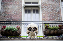 Halloween decoration on the house, skull Royalty Free Stock Images