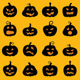 Halloween decoration Jack-o-Lantern silhouette set Stock Images