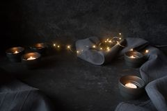 Halloween decoration with lights Royalty Free Stock Photos
