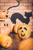 Halloween decoration in studio: pumpkins with smiles, brick wall Royalty Free Stock Photo
