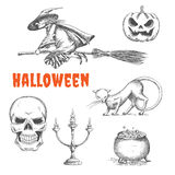 Halloween decoration symbols in pencil sketch. Halloween witch flying on broom, scary pumpkin with fire eyes, black cat, human skeleton skull, candlestick Royalty Free Stock Images