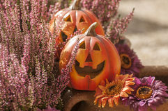 Halloween decorations. Orange ceramic pumkin with a wicked smile Stock Image