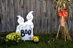 Halloween decorations along an old barn. Royalty Free Stock Image