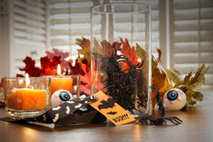 Halloween decorations with candles Stock Images