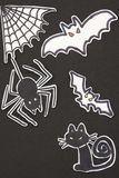 Halloween decorations cat, spider, bat and spiderweb Royalty Free Stock Photo