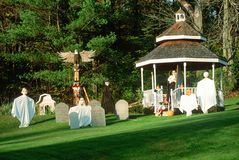 Halloween Decorations and Characters on Lawn, Route 100, Vermont Stock Photo