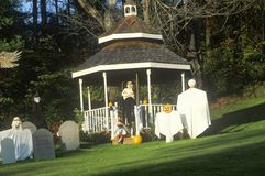 Halloween Decorations and Characters on Lawn, Route 100, Vermont Stock Photography
