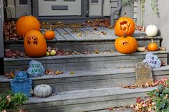 Halloween Decorations on the front Steps Royalty Free Stock Image