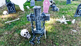 Halloween decorations. Outside in a yard Stock Photography