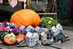 Halloween decorations with pumpkin Stock Image