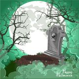 Halloween decorations tombstone on Halloween card Royalty Free Stock Photography