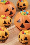 Halloween decorations using plastic pumkins and jelly beans