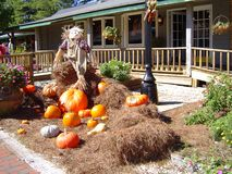 Halloween decorations in the village stock images