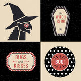 Halloween decorations with witch and halloween tags Stock Photos