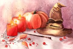 Free Halloween Decorations With Gryffindor Hat , Pumpkin, Red Berries, Two Red Candles And Harry Potter Magic Wand. Stock Photo - 178097470