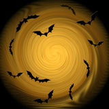 Halloween. Decorative composition - bats fly into the light. Stock Photo