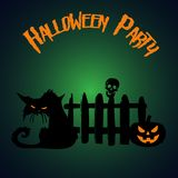 Halloween deltagare Pumpa- och levande dödkatt under staketet Hallowe royaltyfri illustrationer