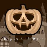 Halloween deltagarebakgrund med pumpor Arkivbilder