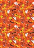 Halloween deseniowy trikowy lub funda, cukierku lizaka tło Zdjęcia Stock