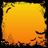Halloween design. Grungy halloween design with skulls and bats Royalty Free Stock Images