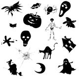 Halloween Design. Helloween seamless pattern with different silhouettes Stock Photo