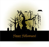 Halloween design background. Halloween design on colored background Stock Photo