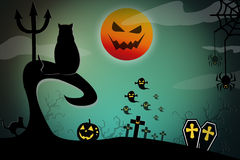Halloween design background with spooky graveyard, Stock Image