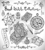 Halloween design background with witch objects  Stock Image