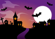 Halloween Design with bats and a graveyard Royalty Free Stock Photography