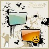 Halloween design elements. Set of several Halloween design elements including two ready-to-use labels vector illustration