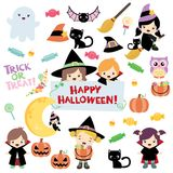 Halloween Design Elements. This Halloween kids clip art is full of fun elements inspired by Halloween: costumed children, black cats, ghost and of course, candy vector illustration