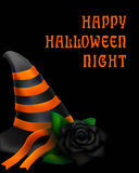 Halloween design with hat and black rose on the black. Background Royalty Free Stock Images