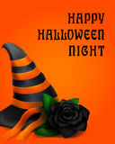 Halloween design with hat and black rose. On the orange background Stock Images