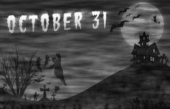 Halloween design : Landscape horror with October 31 message. Halloween design : Landscape horror with October 31 message for background Stock Image