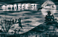 Halloween design : Landscape horror with October 31 message for background. Halloween design : illustration Landscape horror with October 31 message for Royalty Free Stock Images