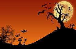 Halloween design : Landscape horror orange tone for halloween. Royalty Free Stock Photos