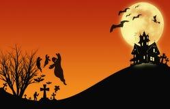 Halloween design : Landscape horror orange tone for halloween background. Stock Photo