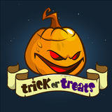 Halloween Design with Pumpkin and ribbon with title Trick or Treats. Vector Halloween illustration  on dark background Royalty Free Stock Images