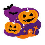 Halloween Design with Pumpkins Stock Images