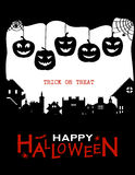 Halloween design pumpkins and houses. Black and white horror background with holiday text. Stock Photo