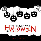 Halloween design pumpkins and houses. Black and white horror background with holiday text. Royalty Free Stock Photo