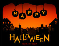 Halloween design pumpkins and houses. Horror background with holiday text. Stock Photos