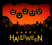 Halloween design pumpkins and houses. Horror background with holiday text. Stock Image