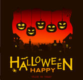 Halloween design pumpkins and houses. Horror background with holiday text. Stock Photo