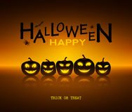 Halloween design pumpkins and mirror. Horror background with holiday text. Stock Images