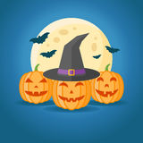 Halloween design with pumpkins, witch hat, full moon and bats. On dark blue background. Vector illustration Stock Photos