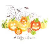Halloween design set with pumpkins, cat, bats and bare branches Stock Images