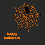 Halloween design with spooky spider net and spider. Halloween design. Halloween orange and black background illustration with spooky spider net and spider Stock Photo